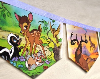BAMBI  Banner Disney Vintage Little Golden Book Repurposed Childrens Banner Garland Childs gift eco friendly Baby shower Birthday party