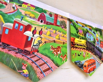 LITTLE RED CABOOSE Banner Vintage Little Golden Story Book Train Bunting Paper children boy eco friendly  nursery baby shower decoration