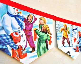 FROSTY the SNOW MAN Banner Vintage Little Golden Book Bunting Children paper Christmas Decoration Re-purposed Eco friendly story book