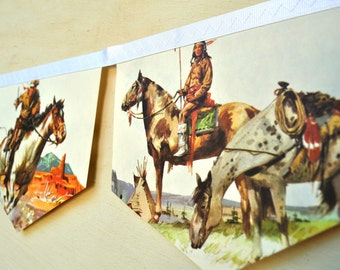 HORSES BannerVintage Little Golden Book Repurposed story book  Bunting Decoration Children boys gift children eco friendly book banner
