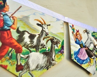 HEIDI Banner Vintage Little Golden Book story book Re purposed Childrens Banner Garland paper decoration fairy tale
