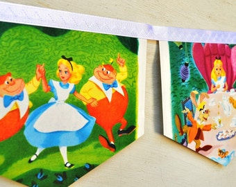 ALICE IN WONDERLAND meets the White Rabbit Banner Vintage Little Golden Book Storybook Repurposed Children Party Birthday Party Baby shower