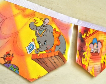 DUMBO Banner Disney Repurposed Little Golden Book Bunting Vintage storybook Children story book elephant party Decoration circus baby shower