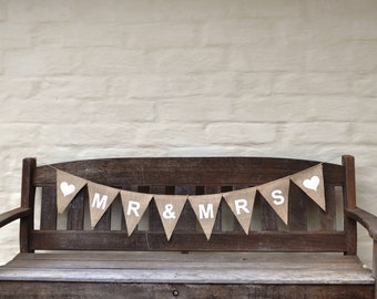 MR & MRS Banner Hessian Burlap Wedding Celebration Party Banner Bunting Decoration Photo prop Party  wedding reception bridal