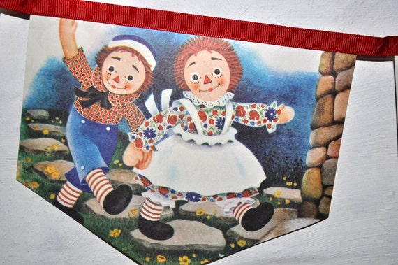 RESERVED FOR GINA Raggedy Ann and Fido Vintage Little Golden Book Bunting Banner Childrens Decoration