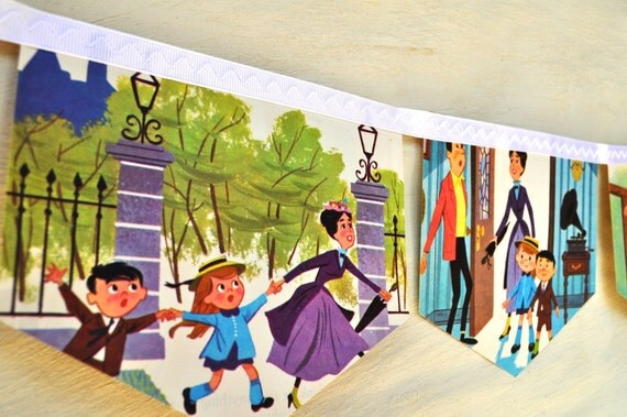MARY POPPINS Banner Vintage Little Golden Book storybook Paper Bunting Nursery Repuposed Eco Friendly Childrens story book Party decoration