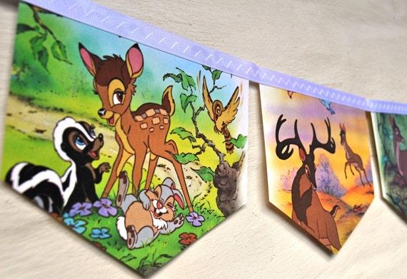 BAMBI  Banner Disney Vintage Little Golden Book Repurposed Childrens Banner Garland Childs gift eco friendly Baby shower Birthday party