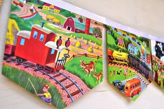 LITTLE RED CABOOSE Banner Vintage Little Golden Story Book Train Bunting Paper children boy eco friendly  nursery baby shower decoration