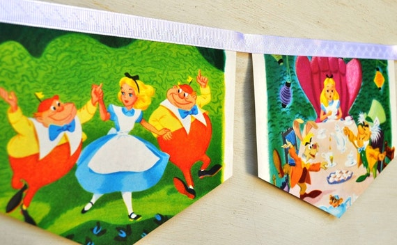 ALICE IN WONDERLAND meets the White Rabbit Vintage Little Golden Book Storybook banner Repurposed Children PartyBirthday Party Baby shower