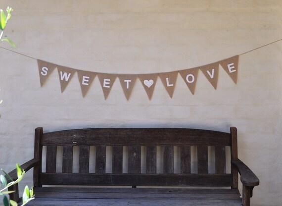 SWEET LOVE Hessian Burlap Wedding Celebration Engagement  Baby Shower Party Banner Bunting Birthday Decoration