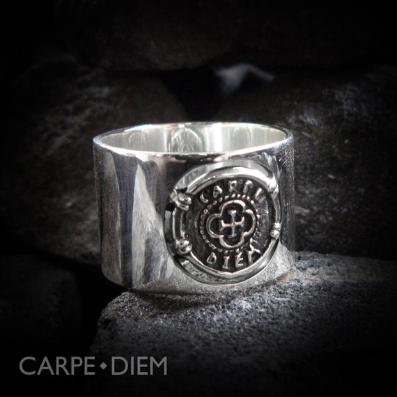 Sterling Silver Ring Carpe Diem Coin Sterling Unique Jewellery Seize the Day Rings