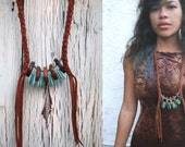 Turquoise Points Leather Necklace