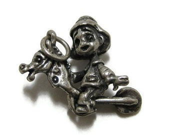Sterling Silver Movable Charm of Child on Stick Pony or Hobby Horse 40s 1940s
