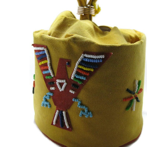 50s Girls Mustard Yellow Indian Motif Play Purse