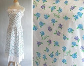 Vintage 1960s  LILLY PULITZER  Cotton White Floral Printed Summer Dress with Ruffle Top