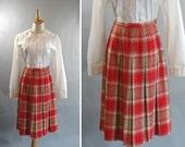 vintage 1950s Red and Tan Plaid Pleated Skirt by BOBBIE BROOKS Plaid Pleated Cheerleader Skirt Bobbysoxer Skirt Varsity Football