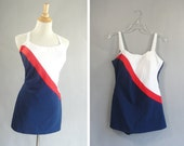 vintage 1950s Red White and Blue Swimsuit by LOUISA BROOKS Miss America Skirted Swimsuit fourth of july swim suit
