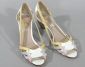 Vintage Sandals by VAN ELI with Pastel Straps and Wedge Heel