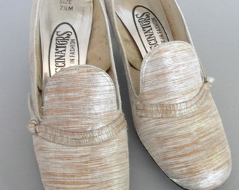 Vintage 1960s Silver and Tan Round Toe Mod  Shoes FASCINATORS