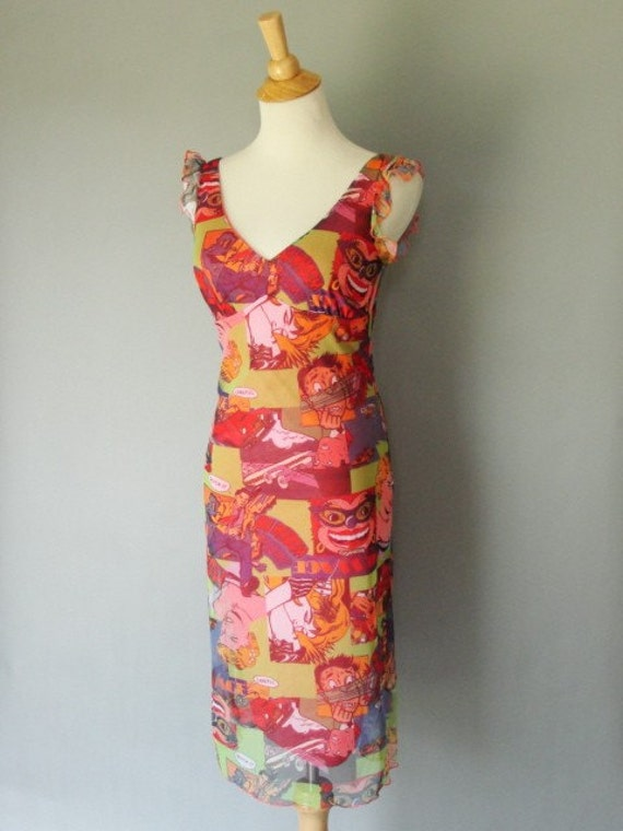 40% off entire listed site with this  Promo Code:40offsale Vintage 1980s Wiggle Dress by La Belle with Comic Book Print and Flutter Sleeve