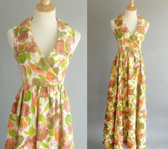 Vintage 1960s Floral Printed Maxi Dress in Yellow Pink and Green