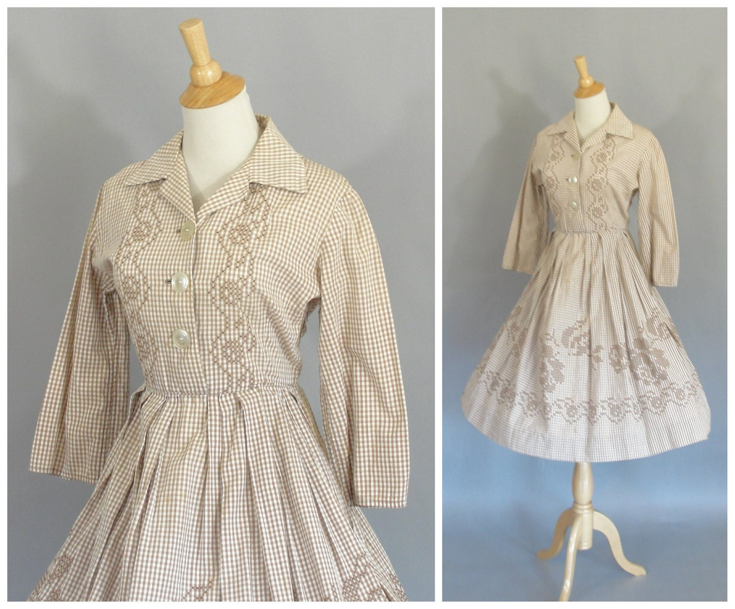 vintage 1950 country western dress in tan gingham