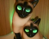 Cat TV Lamp - Claes Syamese 1954 Dated Vintage Siamese Cats -Made by LeLand Claes.Highly Sought -RARE