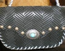 BoHo Black Handbag Chic Industrial Southweastern Style - Re-Purposed Non Slip Rubber Floor-Mat -Very BoHo -Biker Chic
