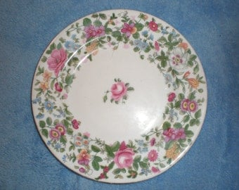 Chintz Rose Plate Crown Staffordshire Bone China Plate Beautiful Vintage Floral Cottage Decorative China