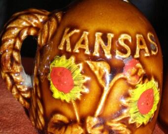 Mid Century Kansas  Sunflower Souvenir Salt & Pepper Western Style Salt and Pepper Set- Kansas Sunflowers -Bison Vintage