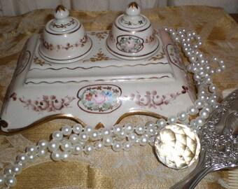 Ink Well Set Porcelain French Antique Matching Lidded Wells On Detailed Floral Pen Holder Base