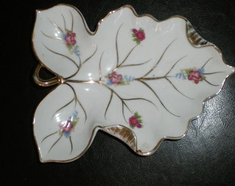 Nippon Pin Tray Hand Painted Roses On Marked Japanese Leaf Shaped Porcelain Trinket Dish.-Cottage Chic