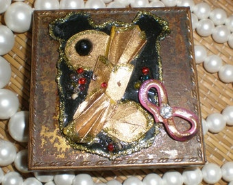 Cats Haunted Box- Compact Brass Art Box Full Of Bad Dreams - Repurposed Antique Assemblage Art