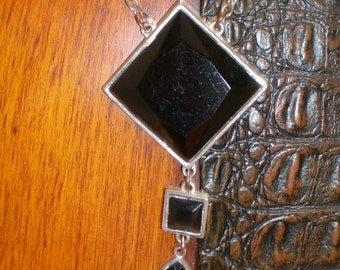 Black Onyx Geometric Triple Articulated Art Deco Pendant Drop  Necklace-Vintage Chic