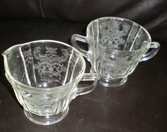 Madrid Sugar Bowl And Creamer Set Federal Depression Style Re-Issued Glass Serving Items -Make A Great Wedding Gift