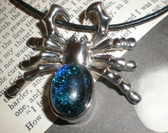 "Spider Sapphire Blue Glass Pendant Brooch  Dichroic Glass Necklace ""Web of Mystery"" Convertible Tarantula Pendant- Brooch"
