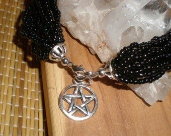 Witch's Pentacle Black Bracelet Seed Beads With Pentacle Charm Tribal Multi Strand Beading (Also Available With Moon Charm)