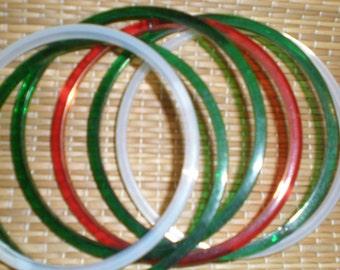 BANGLES -Colorful Glass-Like Bangles-Nice Vintage Set Of 6 Fun Bracelets
