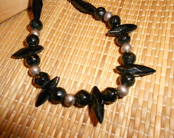 Jet Mourning Necklace Carved Black Jet/Obsidian With Sterling Silver Accent Beading Unusual Gothic Style Both Elegant And Striking