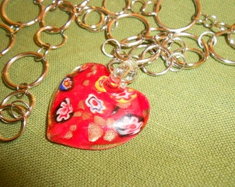 Glass Heart On Handmade Crazy Chain - Dichroic Millefori Glass Heart - Pendant Is Sweet As Candy