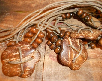 """Hippie Macrame Belt-Cord & Bead """"Carved Coconut"""" Flower Concho Style  -Vintage"""