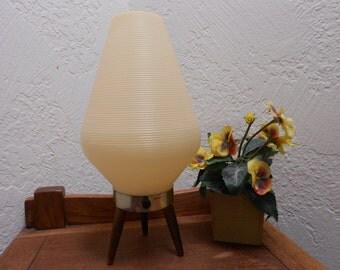 Atomic Beehive Lamp Danish Modern Teak Legged Lamp - Eames Era Beauty