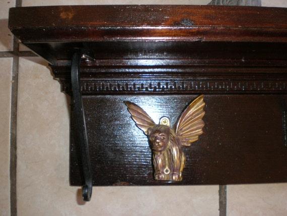 Reserved for Bob Majhi -Vampire's Bat Wing Lion Gargoyle- Gothic Antique Fireplace Mantle/Wall Shelf - OOAK - Upcycled