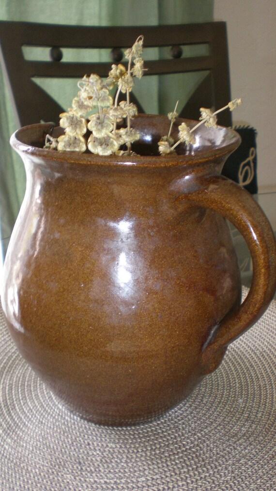 Farmhouse Pitcher Primitive Brown Glazed Clay Pottery Pitcher - Vintage Rustic Antique