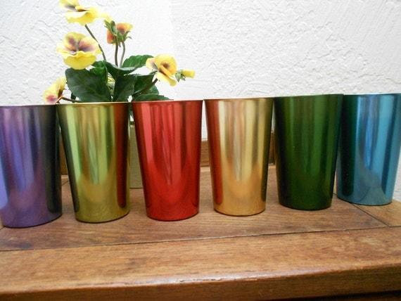 "Aluminum Tumblers Atomic Rainbow ""Bascal"" Italian Mid Century Retro Drinkware Set Of 6 Vintage 40s-50s"