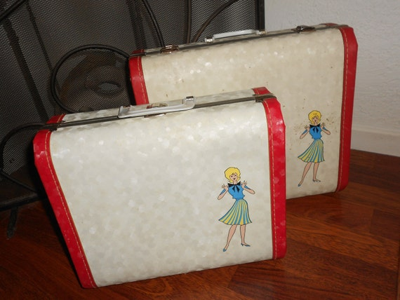 Reserved For Sue McPherson Mid Century 50s Rockabilly Mid Century Rare & Vintage Hard  Suitcase Set -Collectors 2 ps Retro Luggage Set