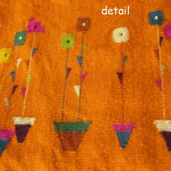 Scandinavian Woven Wall Hanging/Rug Vintage 60s Era Loomed Wool Beautiful Folk Art Piece