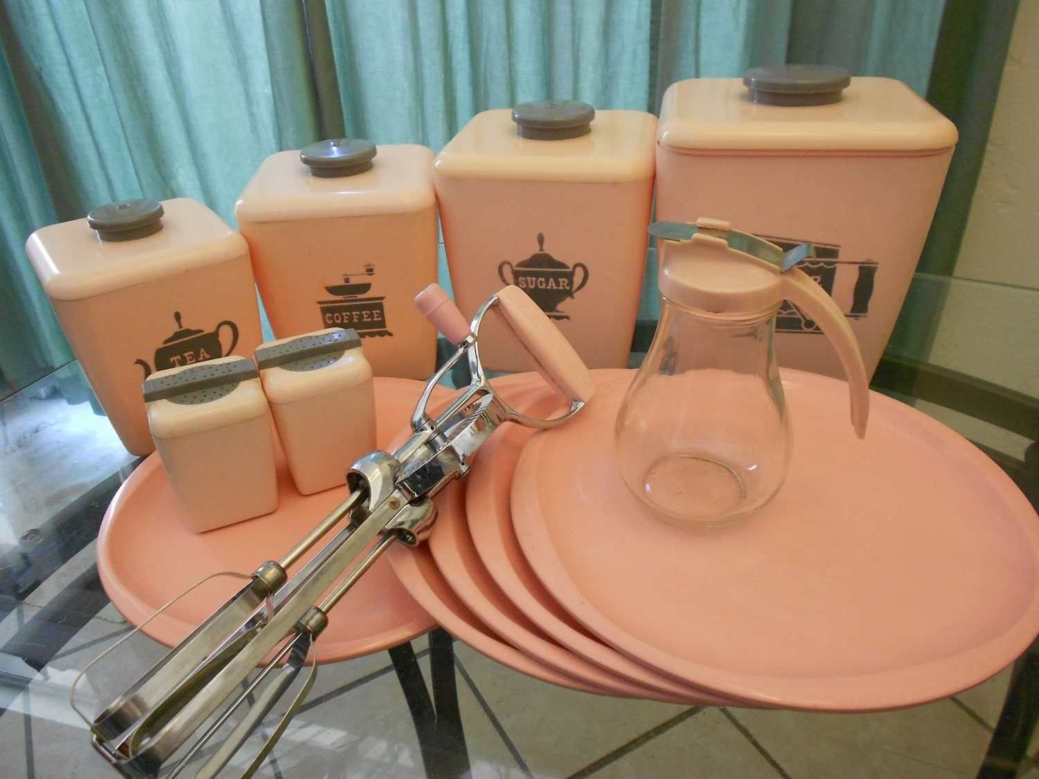 vintage pink kitchen accessories 50s pink retro kitchen wares instant 50s decor fabulous 6856