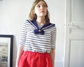 Col amovible marin facon vareuse Bleu marine /Navy Blue Removable Knitted Sailor Collar