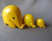 Set of 3 Vintage LUIGI COLANI Elephant 1960s Yellow Money Bank RESERVED for Marie